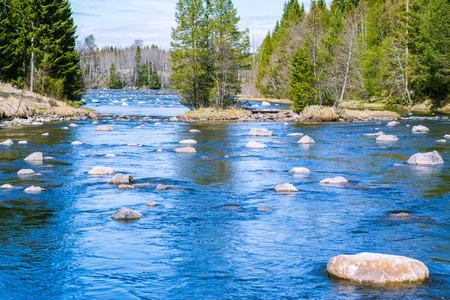 flowing river: slowly flowing river with plenty of rocks and good fishing spots