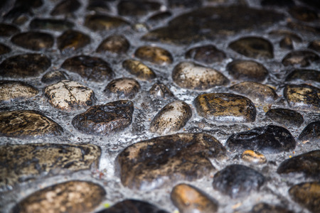 cobblestones: blank worn cobblestones at night Stock Photo