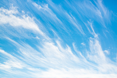 clouds background: cirrus clouds in a blue sky on a summer day Stock Photo