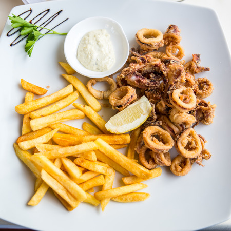 calamares: calamares and french fries with mayonnaise on a white plate