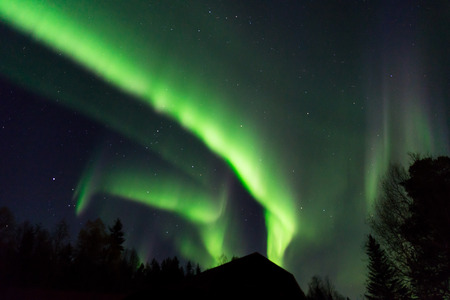 ionosphere: beautiful aurora borealis over the tree tops on a starry sky in the north of Sweden Stock Photo