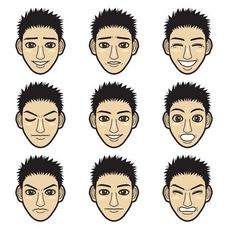 faces happy to sad: man face