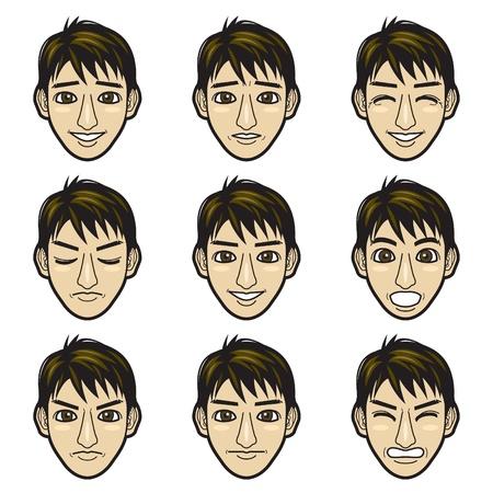 expresiones faciales: hombre de la cara