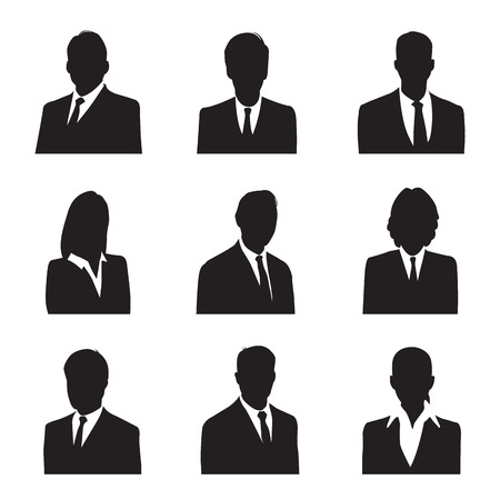 black woman white man: silhouette businessman Illustration