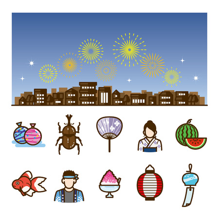 watermelon woman: icon summer festival fireworks Illustration