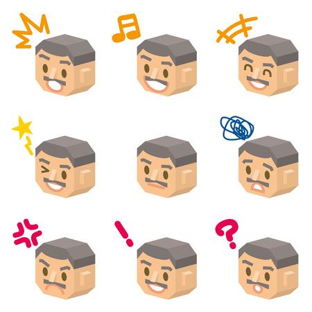 gran: man 3d face Illustration