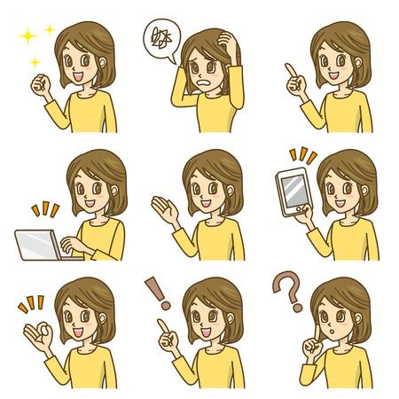 woman tablet pc: woman Illustration
