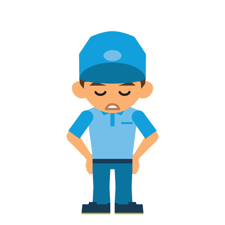tiredness: Delivery man Illustration