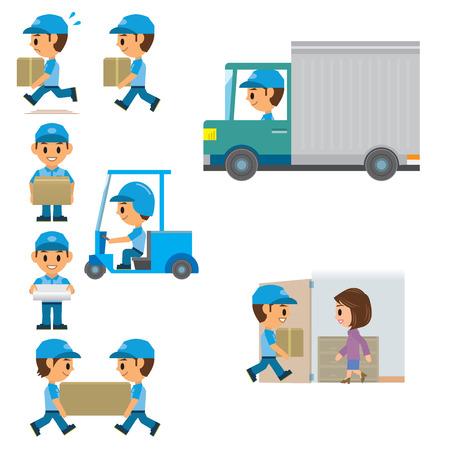 bagagli: Uomo di consegna Vettoriali