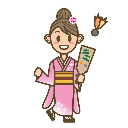 battledore: japanese new year Illustration