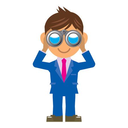 binoculars: business man