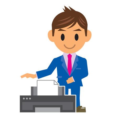 printer drawing: business man