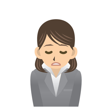 tiredness: business woman expression Illustration