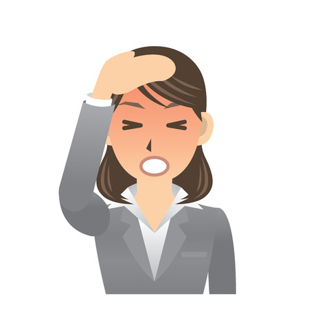 woman headache: business woman expression Illustration