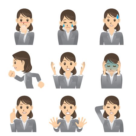 emotions faces: business woman Illustration