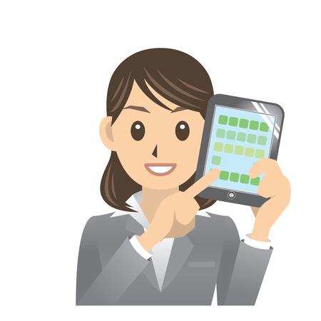 woman tablet pc: business woman Illustration