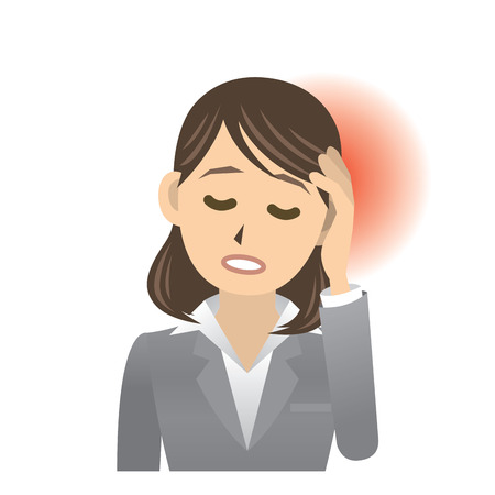 woman headache: business woman Illustration
