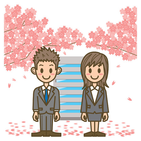 asian business woman: business man & business woman Illustration