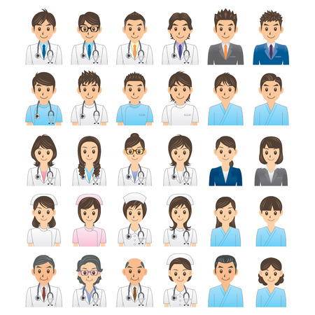 male symbol: doctor nurse business manager Illustration
