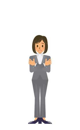 trembling: business woman Illustration