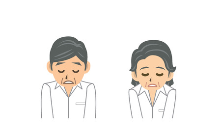 tiredness: grand father grand mother Illustration