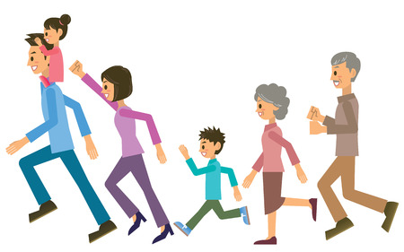 old people smiling: family Illustration