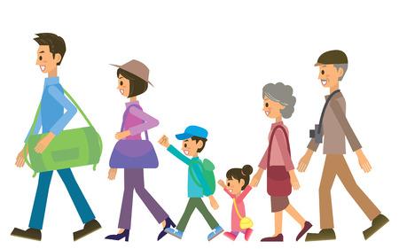viaggi: famiglia Vettoriali