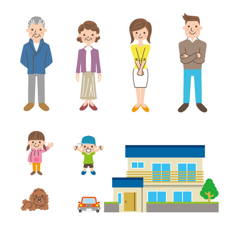 family in front of house: family Illustration