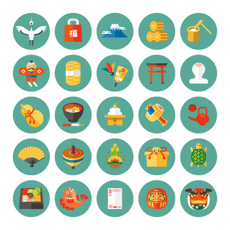 Japanese new year icons Illustration