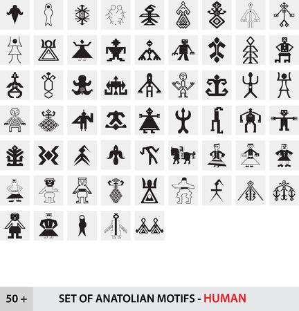 anatolian: Set of Anatolian Turkish Motifs - Human Illustration