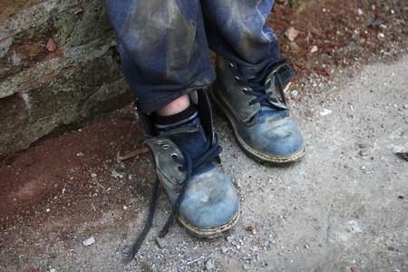 footwear: Children footwear worn Stock Photo