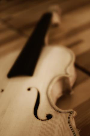 violins: construction of unfinished violins Stock Photo