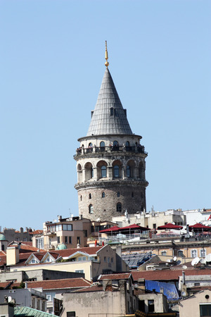 rejections: Galata Tower between buildings