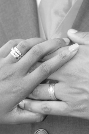 Couples hands with wedding rings