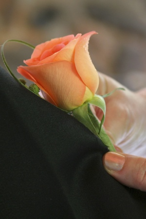 orange rose corsage being pinned on grooms suit