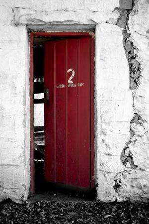 ancient ruin with red door