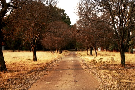 Winter scene in a deserted town in South Africa Stock Photo
