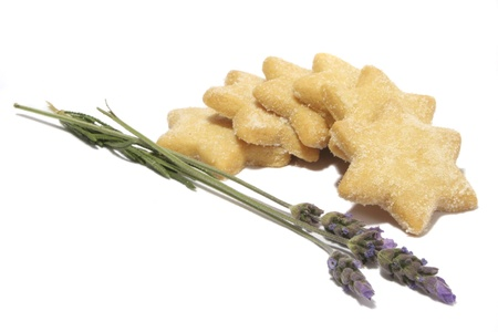 Isolated star shaped cookies with Lavender  Stock Photo