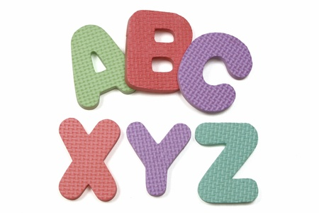Colorful foam ABC XYZ on White background