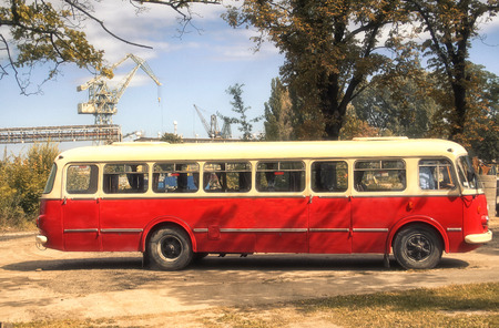 Old, red bus, called ogorek, used in 60s and 70s. Stock Photo
