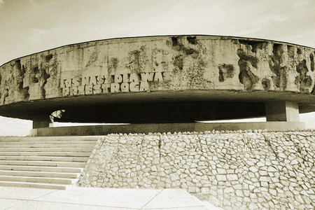 lith: Mausoleum in Majdanek Concentration Camp near Lublin. Poland. Lith processing picture. Editorial