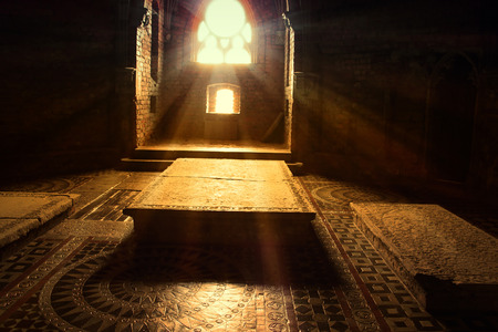 crypt: The old, gothic crypt. Beams of light. Stock Photo