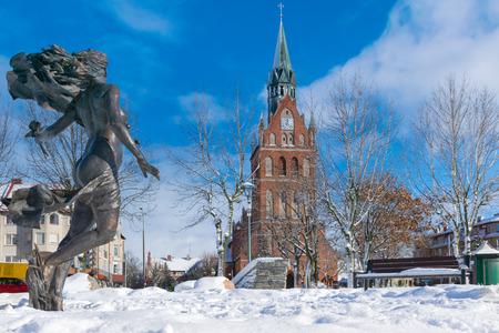 Winter in the center of E?k town. Masuria, Poland.