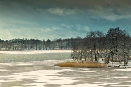 masuria: Elckie Lake in winter. Masuria, Poland, Europe.
