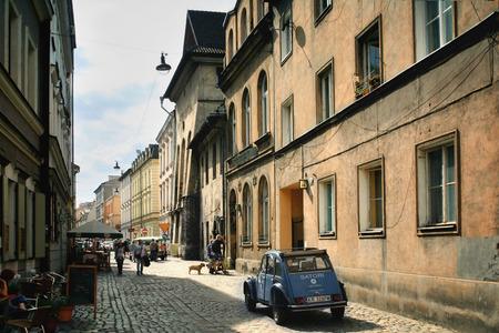 kazimierz: Krakow, Poland - August 13 2011: Kazimierz, former jewish quarter of Krakow. Jozefa Street.