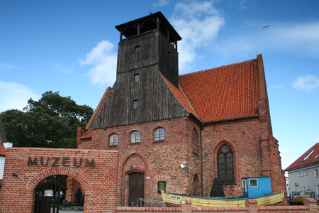 evangelical: Hel, Poland - August 12 2009, The Fishing Museum in Hel, located since 1972 in the former Evangelical Church of Saints Peter and Paul. Church is from the early of the fifteenth century. Stock Photo