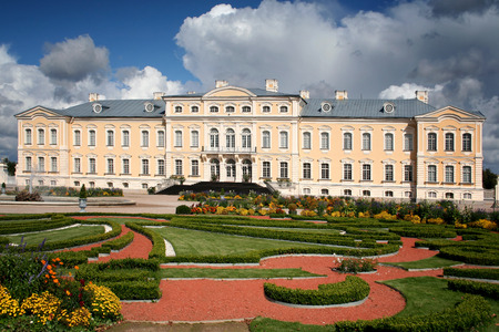 Rundale, Latvia - September 10, 2011: A baroque palace is standing in the suburbs of Rundale, Latvia. It was built in the middle of the 18th century as a residence of the Duke of Courland.
