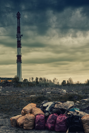 industrial wasteland: Environmental pollution. Litter dirty air industry cause ecological problem.