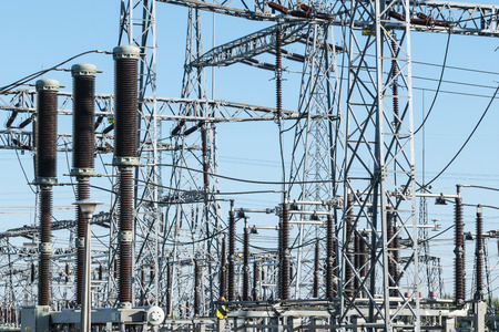 power transformer: High voltage power transformer substation and electric poles Stock Photo