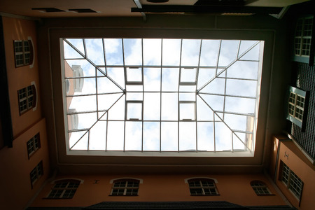 view of an atrium in a building: Glass ceiling - natural frame. Riga, Latvia. Stock Photo